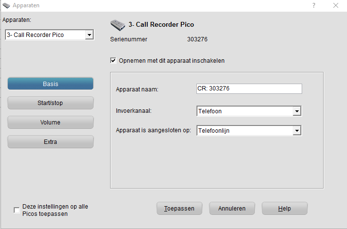 Instelling Pico software